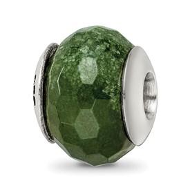 Reflection Beads Sterling Silver Dark Green Quartz Stone Bead