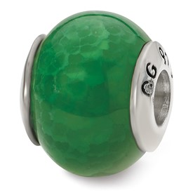 Reflection Beads Sterling Silver Green Cracked Agate Stone Bead