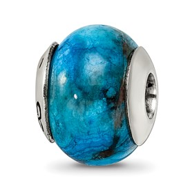 Reflection Beads Sterling Silver Blue Crazy Lace Agate Stone Bead
