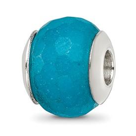 Reflection Beads Sterling Silver Medium Blue Quartz Stone Bead