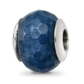 Reflection Beads Sterling Silver Dark Blue Quartz Stone Bead
