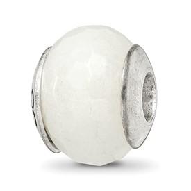 Reflection Beads Sterling Silver White Quartz Stone Bead