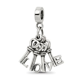 Reflection Beads Sterling Silver Love Keys Dangle Bead
