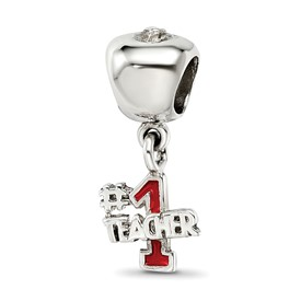 Reflection Beads Sterling Silver Apple with #1 Teacher Dangle Bead