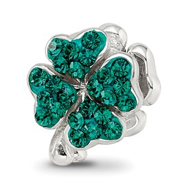 Reflection Beads Sterling Silver Green Swarovski Elements Clover Bead