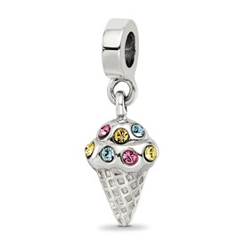 Reflection Beads Sterling Silver CZ Ice Cream Cone Dangle Bead