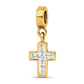 Reflection Beads Sterling Silver and Gold-plated Swarovski Elements Cross Dangle Bead