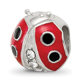 Beads Sterling Silver Enameled Ladybug with Swarovski Elements Bead
