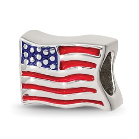 Reflection Beads Sterling Silver USA Flag Bead