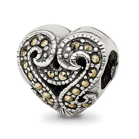 Reflection Beads Sterling Silver Marcasite Heart Bead