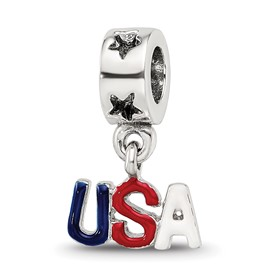 Reflection Beads Sterling Silver Enameled USA Dangle Bead