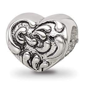 Reflection Beads Sterling Silver Scroll Heart Bead