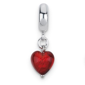 Reflection Beads Sterling Silver Red Heart Italian Murano Dangle Bead