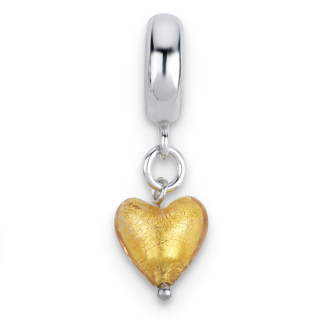 QG Sterling Silver Reflections Yellow Heart Italian Murano Dangle Bead