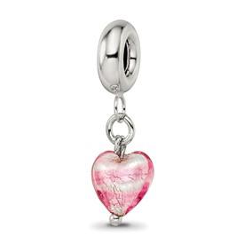 Reflection Beads Sterling Silver Pink Heart Italian Murano Dangle Bead