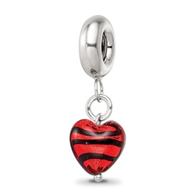 Reflection Beads Sterling Silver Red with Stripes Hrt Ital. Murano Dangle Bead