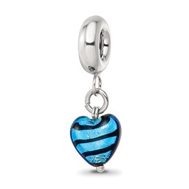 Reflection Beads Sterling Silver Blue Heart Stripes Ital Murano Dangle Bead