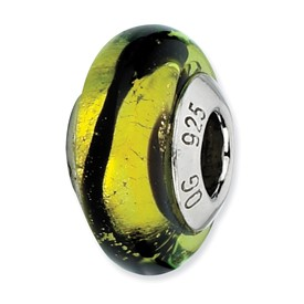 Reflection Beads Sterling Silver Lime/Black Stripes Italian Murano Glass Bead