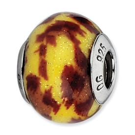 Reflection Beads Sterling Silver Yellow and Brown Glitter Italian Murano Glass Bead