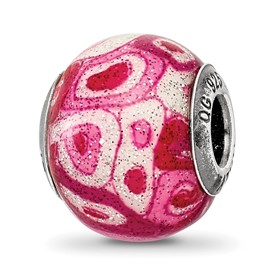 Reflection Beads Sterling Silver Hot Pink with Glitter Italian Murano Glass Bead