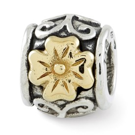 Reflection Beads Sterling Silver and 14k Yellow Gold Floral Bead