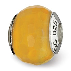 Reflection Beads Sterling Silver Yellow Cracked Agate with Shell Stone Bead