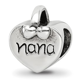Reflection Beads Sterling Silver Nana Heart Bead