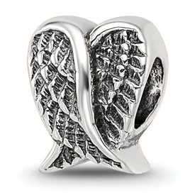 Reflection Beads Sterling Silver Heart Shaped Wings Bead