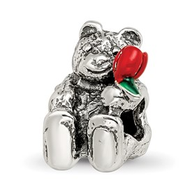 Reflection Beads Sterling Silver Kids Bear with Flower Bead