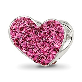 Reflection Beads Sterling Silver Pink Crystal Heart Bead