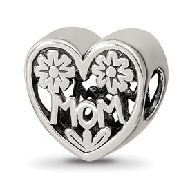 Reflection Beads Sterling Silver Mom Heart Bead