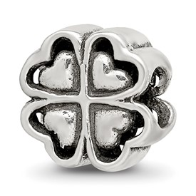Reflection Beads Sterling Silver Four Leaf Heart Clover Bead