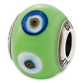 Reflection Beads Sterling Silver Italian Murano Green with Decorative Accents Glass Bead