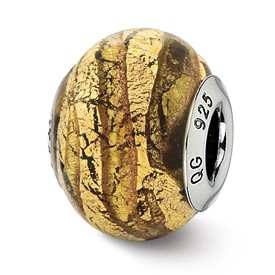 Reflection Beads Sterling Silver Italian Murano Light Bronze and Gold Colored Glass Bead