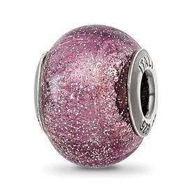 Reflection Beads Sterling Silver Italian Murano Light Purple with Glitter Glass Bead
