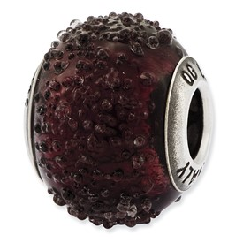 Reflection Beads Sterling Silver Italian Murano Dark Purple Textured Glass Bead