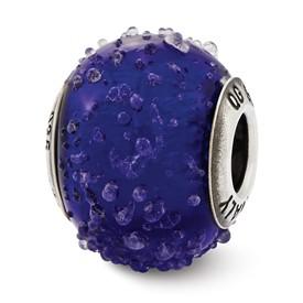 Reflection Beads Sterling Silver Italian Murano Dark Blue Textured Glass Bead