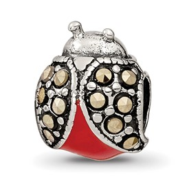 Reflection Beads Sterling Silver Enameled and Marcasite Ladybug Bead