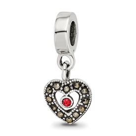 Reflection Beads Sterling Silver Marcasite Heart Dangle Bead