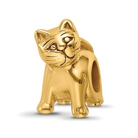 Reflection Beads Sterling Silver and Gold-plated Cat Bead
