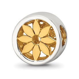 Reflection Beads Sterling Silver Gold-plated Flower Bead