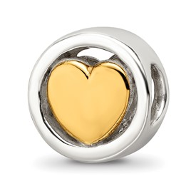Reflection Beads Sterling Silver Gold-plated Heart Bead