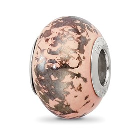 Reflection Beads Sterling Silver Pink with Platinum Foil Ceramic Bead