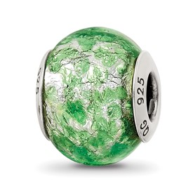 Reflection Beads Sterling Silver Green, White Italian Murano Glass Bead