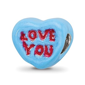 Reflection Beads Sterling Silver Kids Love You Enameled Heart Bead