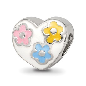 Reflection Beads Sterling Silver Kids Enameled Heart with Flowers Bead