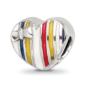 Reflection Beads Sterling Silver Kids Enameled Heart Bead