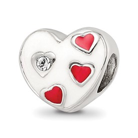 Reflection Beads Sterling Silver Kids Enameled Heart with Hearts Bead