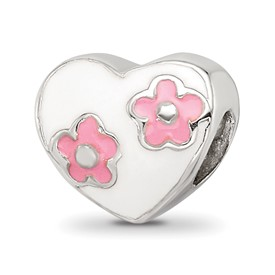Reflection Beads Sterling Silver Kids Enameled Heart with Pink Flowers Bead