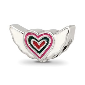 Reflection Beads Sterling Silver Kids Enameled Heart with Wings Bead
